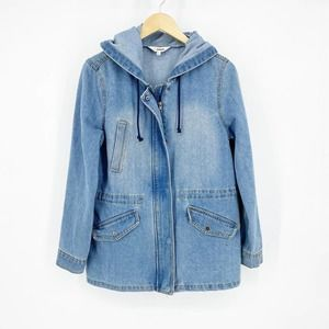 Ci Sono Denim Blue Jean Hooded Jacket Large